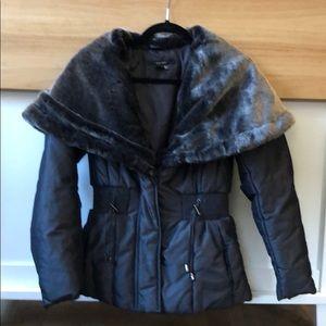 Zara pewter grey size small coat with fur trim